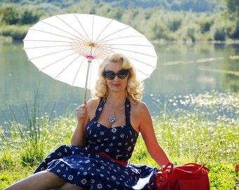 Summer Dress Navy Nautical Dress Anchor Sailor Dress Pin Up Dress Plus Size Dress Rockabilly Dress 1950s Party Dress Swing Dress Retro Dress