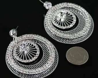 Fashion Rhinestone Dangle Post Earrings