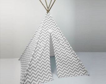 Kids Play Teepee Tent in Storm Gray and White Chevron Zig Zag Cotton Canvas Tipi