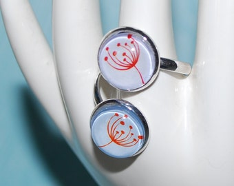 Double red comic flower ring