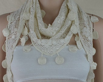 White bud silk cotton triangle scarf, fashion lace scarf, hollow out flower design scarf