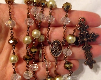 vintage copper crystal and pearl Rosary