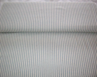 VIP Ticked Off, vintage fabric,blue and off white striped like ticking, old fashioned striped ,by yard