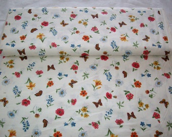 Vintage fabric, white w/ butterflies and flowers, by yard
