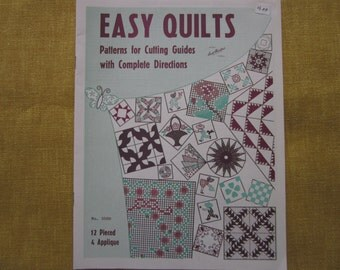 Easy Quilts,patterns, directions, cutting guides,12 pieced,4 appilqued,booklet, Aunt Martha's