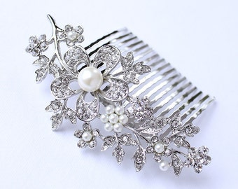 Crystal Pearl Hair Comb Wedding Jewelry Bridal Hairpiece Rhinestone Combs Gatsby Old Hollywood Wedding Headpiece Jewelry