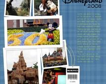 Disney Digital Scrapbook Pre Made 10 pages - Instant Download - Quick Scrapbooking Page - Disneyland - Disneyworld - Mickey Donald Goofy