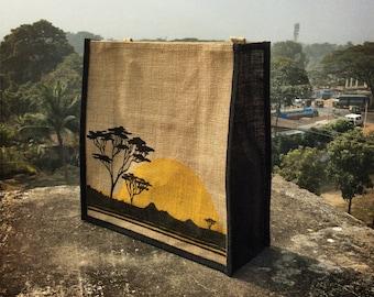 Elephant Beach Bag Jute Tote Shopping Tote Handprinted Pattern: Jambo Africa Safari