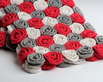 Crochet Pattern Rose Field Blanket - Digital file PDF - Baby blanket pattern, baby girl blanket pattern, beginner crochet pattern