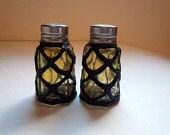 Antique Olive Glass Salt & Pepper Shakers 1960s