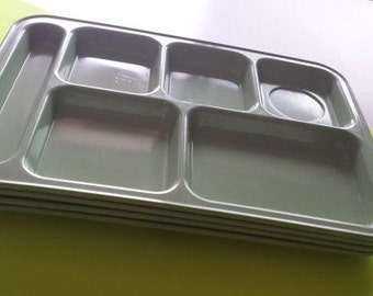 Vintage Set of Four Avocado Green Lunch Trays