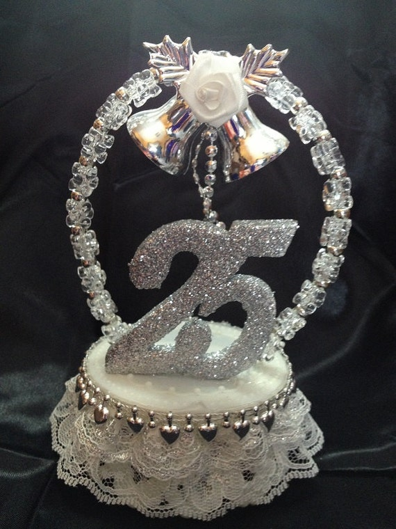 25th Silver Wedding Anniversary Cake Topper