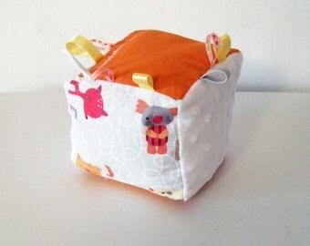 Soft baby block orange with animals and white velvet