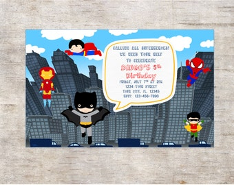 SUPER HEROE Invitation Birthday Party***Digital Invitation 4x6 or 5x7