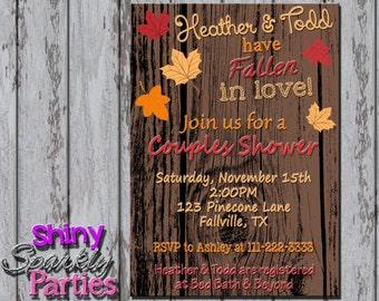 Printable FALL SHOWER INVITATION - Fall Bridal Shower Invitation - Fall In Love Shower Invite - Autumn Bridal Shower Invitation