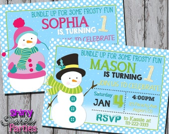 SNOWMAN PARTY INVITATION - Snowman Birthday Invite - Boy or Girl Snowman Birthday - Winter Birthday - Christmas Birthday Snow Holiday Party