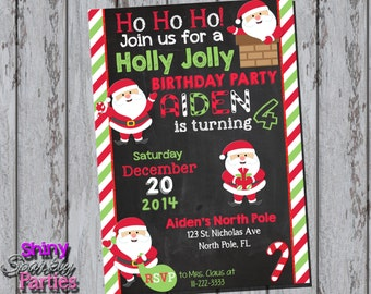 SANTA BIRTHDAY INVITATION - Santa Invite - Christmas Birthday - Winter Birthday - Christmas Party - Holiday Party Chalkboard Red Green White