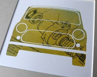Mini Front Hub - Unique, Original Framed Austin Rover Mini Artwork - Made from vintage car workshop manual