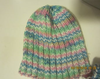 Toddler Girls Handknit Hat and Mitten Set    Ribbed pull on hat and cuffed mittens   pink, green, blue Size 2-4 years