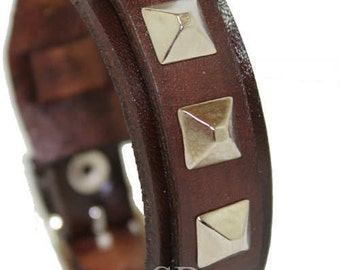 SB PYRAMID leather wristband genuine leather cuff first class leather bracelet wrist band