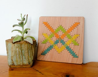 "Modern Geometric Cross Stitch, Laser Cut Birch Wall Hanging, 6"" x 6"", Tangled Arrow, Bright Green/Yellow/Orange/Blue"