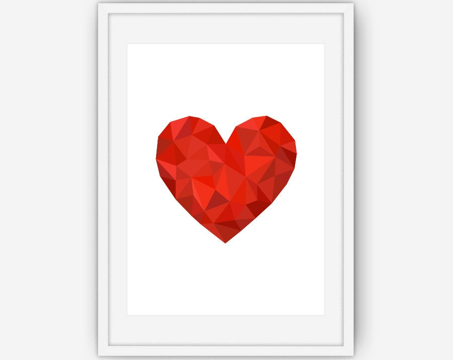 Wall Art Love Heart : Love heart wall art hear print