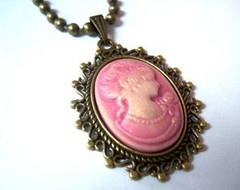 Bronze, bronze tone pendant necklace resin cameo gem cabochon pink woman jane's portrait