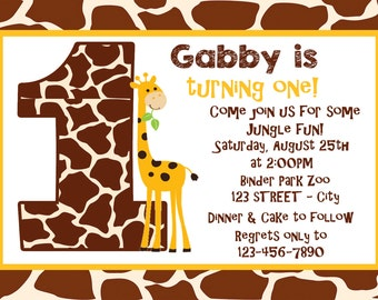 Giraffe Print 1st Birthday Invitation