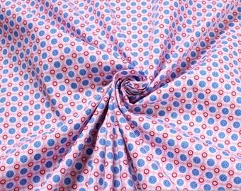 fabric pure cotton poplin pink Prilblume azure sky blue little flowers