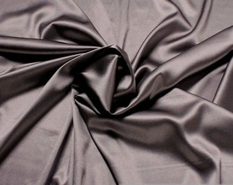 Fabric natural silk elastane satin anthracite flowing stretch noble