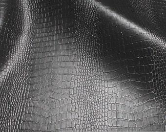 Fabric PVC nappa black crocodile flashy glittering leatherette