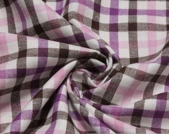 Fabric pure cotton flanell check ecru dark brown lilac crease-resistant