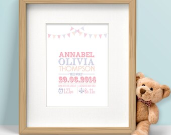 New Baby Gift, Framed Personalised Birth Announcement Print for Boy/Girl, with Bunting Decoration