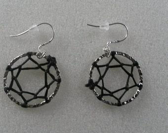 Black Sinew Dreamcatcher Earring