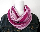 Pink Infinity Scarf Stripes Fuchsia Beige - Circle Scarf - Cowl - Fashion Scarf