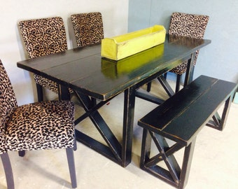 6 foot Black distressed dining table, includes one 4 foot bench. You can also choose different size or color. Text or email us.