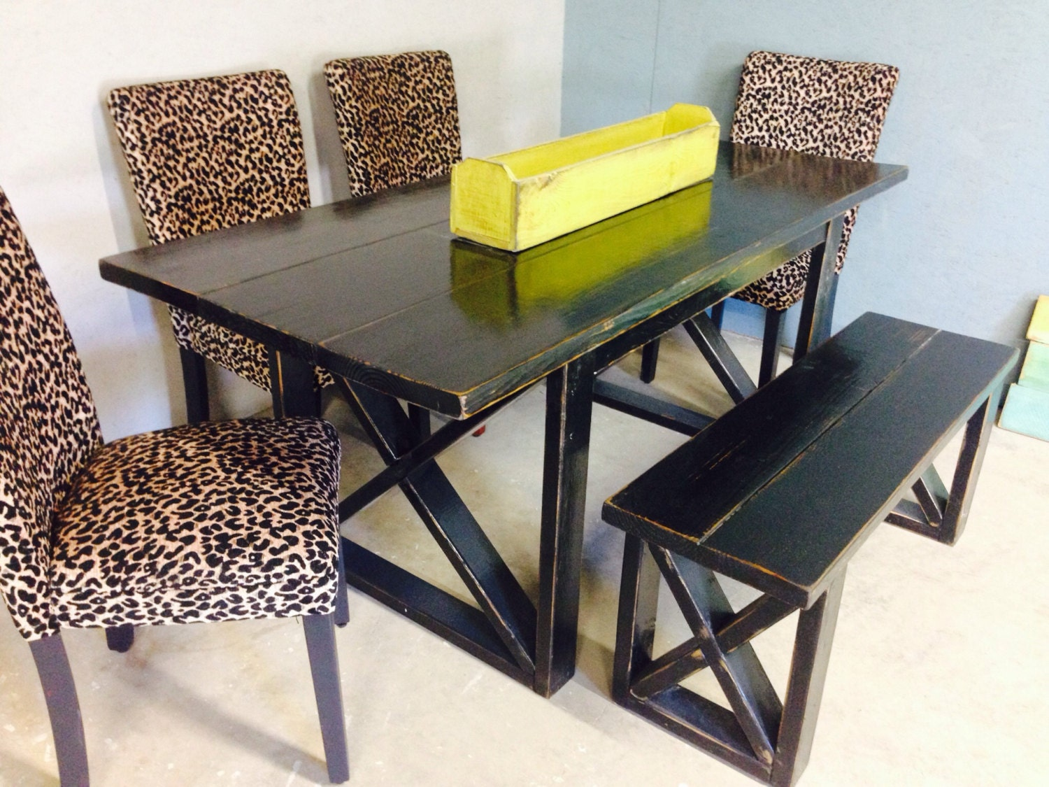 Foot Black Distressed Dining Table Includes By ManusCottageDecor