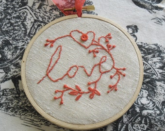 Hand Embroidered 8 inch Hoop of Love and Flowers for Valentines Days
