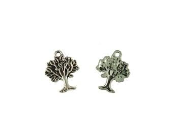 25 x Antique Silver Tree Pendant Charm 17 x 21mm