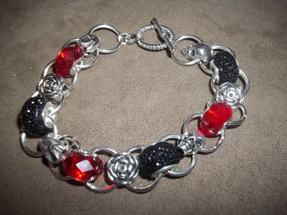 Day of the Dead Charming Chains Bracelet with European Beads