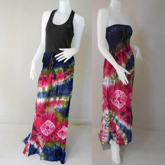 One size fit most Tube Dress 100 % Tie Dye Cotton Boho Hippie Long Smock Maxi Dress/Skirt (402)