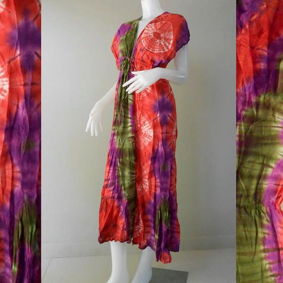 Boho Hippie Thai Tie Dye Cotton Baby Doll Dress/Long Kimono Sexy Sundress (TD 300)