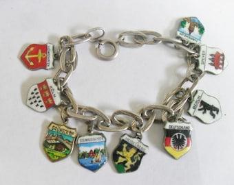 Vintage Silver German Cities Souvenir Shield Charm Bracelet - 9 Charms
