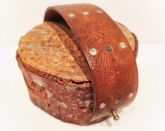 Leather Cuff Bracelet w Abalone Inlay by Bill Cleaver