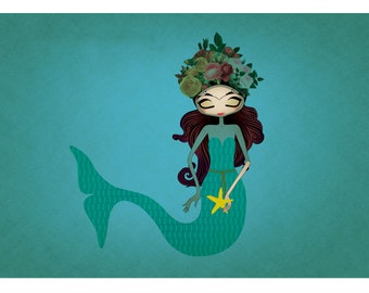 "Little Frida's Dream is to be a Mermaid print A4 A3 8""x10"""