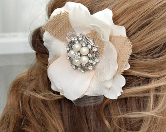 Ivory bridal hair piece with burlap