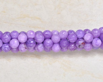 8mm round faceted Purple Jade  beads  strand ( #J1029)
