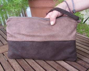 pochette hand bag cluth in VERA pelle bovina lavorata bicolore marrone beige tortora