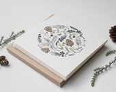 Painted Pinecone and Leaves Circle - Set of 8 cards
