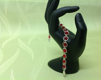 Sterling Silver Swarovski Red Crystals